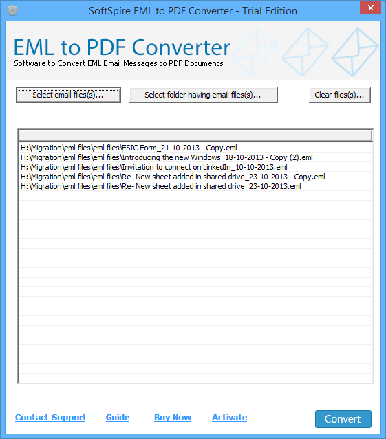 Transfer EML File as PDF full screenshot