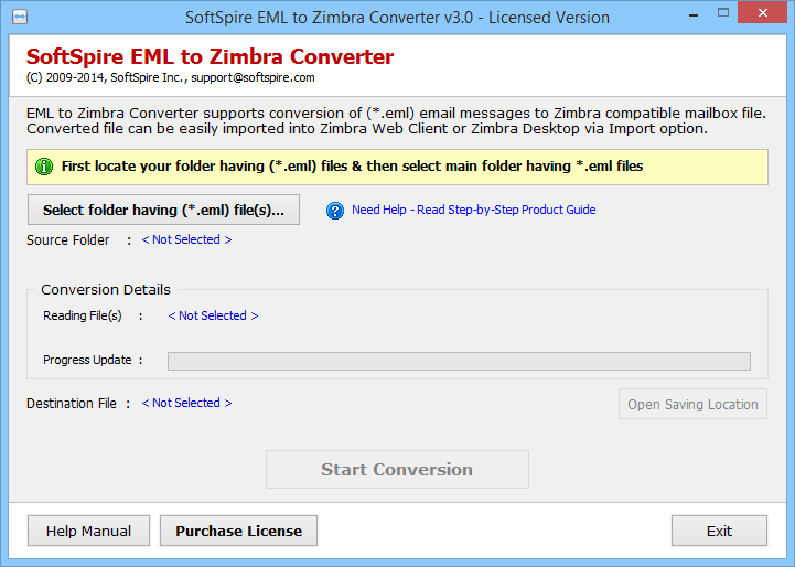 Import EML to Zimbra desktop 3.1.8