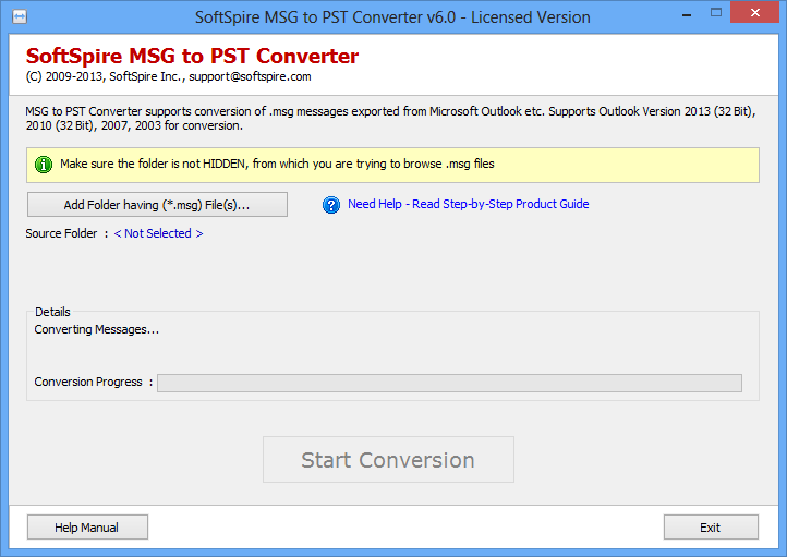 Move .msg files into PST format