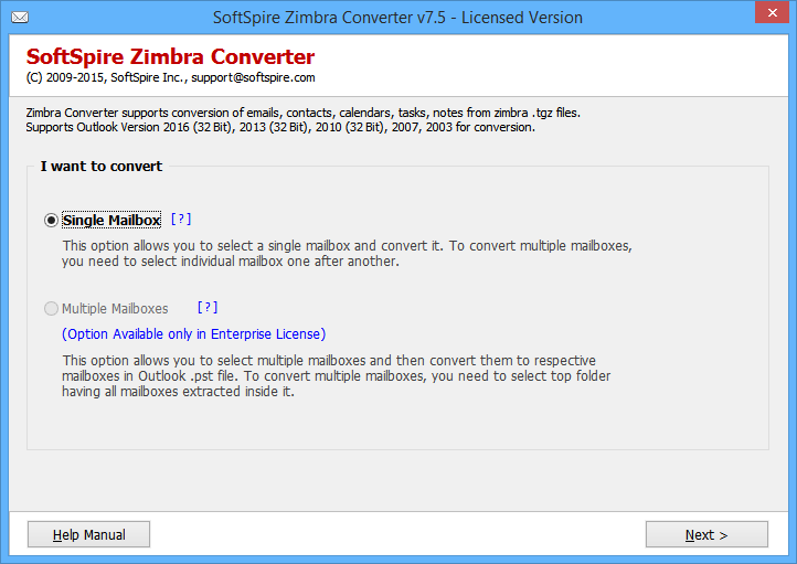 Export Zimbra Email to PST full screenshot